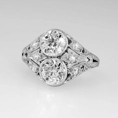 Toi Et Moi 1920's Romantic 1.85ctw Old European Cut Diamond Engagement from jewelryfinds on Ruby Lane