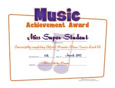 For students who respond well to positive reinforcement - a certificate for completing their first set of piano books! Original certificate is from Making Music Fun.