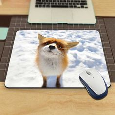 Animals Foxes Snow Funny Custom Mouse Pad for Size 18*22cm and 25*29cm