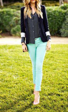 Mint pants with polka dot shirt