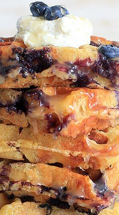 Bread Pudding Blueberry Waffles