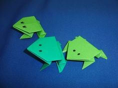 How to make an origami jumping frog.  ----------  Origami:  Jumping Frogs  Designed by:  traditional  Made by:  Heather  ----------  Today's origami lesson is the second in the series.  Today we will make a jumping frog.  These are a fun project for the summer days.  You can make a few and have everyone jump their frogs to see which one goes farther o...
