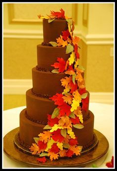 Chocolate Fall Wedding Cake - Sweet Fix at www.sweetfixrva.com