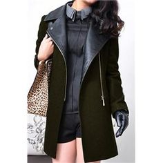 Panel Faux Leather Green Woolen Coat  #pariscoming your personal style online store. like it? buy now.
