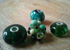 Green handmade glassbeads.