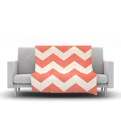 Vintage Coral by Ann Barnes Fleece Throw Blanket