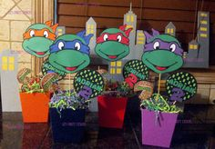 Ninja Turtle Centerpieces by LizsPartyDesigns on Etsy www.etsy.com/shop/lizspartydesigns $8.00