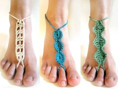 **This listing is for a CROCHET PATTERN and not the finished item**  Barefoot sandals are great for the beach or any other time you want something fun and decorative to wear on your feet, but still be barefoot. This set includes 3 different sandal patterns. Each pattern is quick to crochet and made all in one piece so that no sewing is required. The straps are tied around your ankles to secure the sandals. Crochet these light weight barefoot sandals in various colors!  Skill Level…