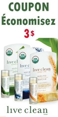 Coupon pour produits Live Clean Lovely Lips. Fin le 30 avril  http://rienquedugratuit.ca/coupons/live-clean-lovely-lips/