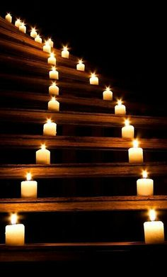 Candles going up the stairs.  Would love this. v