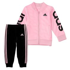 Featuring elastic waistband athletic pants and a full-zip jacket for easy on and off, this two-piece set by adidas is perfect for layering as cool weather sets in. Toddler Adidas, Adidas Baby, Twin Outfits, Toddler Girl Outfits, Toddler Girls, Disney Baby Clothes, Cute Baby Clothes, Baby Girl Fashion, Kids Fashion