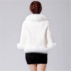 elegante abrigo de piel falsa capa corta de las mujeres 2017 - R$268.59