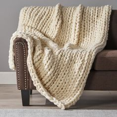 Shop Marnie Acrylic Throw Blanket by Christopher Knight Home - On Sale - Overstock - 20444770 - Ivory Couch Blanket, Couch Throws, Throw Blankets, Chunky Knit Throw, Knitted Throws, Dot And Bo, Knitting Designs, Decorative Pillows, Fabric