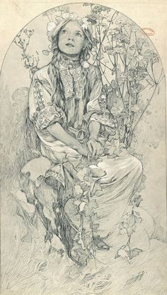 Alphonse Mucha: 'Virgo purissima', 1905 (Madonna of the Lillies) Art Nouveau Mucha, Alphonse Mucha Art, Art Nouveau Poster, Art And Illustration, Animal Illustrations, Illustrations Posters, Jugendstil Design, Ouvrages D'art, Graphic