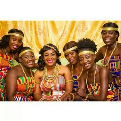 Ghana bride, African Wedding with her bridesmaids