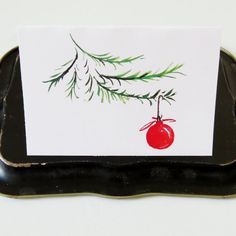 "Christmas Tree card // red ornament and Christmas tree // watercolor // 3.5"" x 5"" // blank inside"