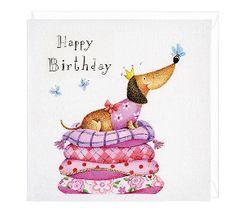 Happy Birthday Princess Dachshund Greeting Card