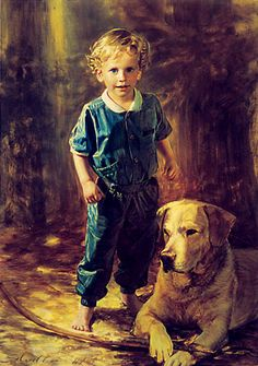 Robert Schoeller Painting ~ Little Boy Portrait
