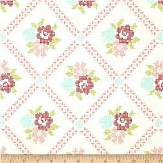 Moda Vintage Picnic Mayberry Mum Cream/Coral #fabricdotcom #fabric #vintage #modavintage #picnic #floral