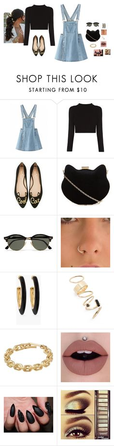 """""""~ Cool Cat ~"""" by hanakdudley ❤ liked on Polyvore featuring Kate Spade, New Look, Ray-Ban, Chico's, BP., Calvin Klein and Urban Decay"""