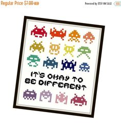 HALLOWEEN SPECIAL SALE Space Invaders Cross Stitch Pattern - Cross Stitch Sampler - Funny Cross Stitch - Rainbow Cross Stitch - Quote Cross