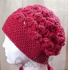AG Handmades  Raspberry Scarf Cowl and Hat Set Berretto All uncinetto 86a2715cb611