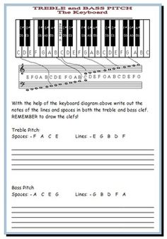 MUSIC:  A very handy Treble and Bass Pitch Reference Guide! Includes worksheets!  FREE download!