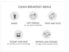 These clean breakfast ideas can get you on the path to a healthier day. Try planning your meals with this easy reference for a yummy clean breakfast. Cleanse Recipes, Shake Recipes, Holistic Nutrition, Health And Nutrition, Breakfast Options, Breakfast Recipes, Healthy Tips, Healthy Options, Eating Healthy