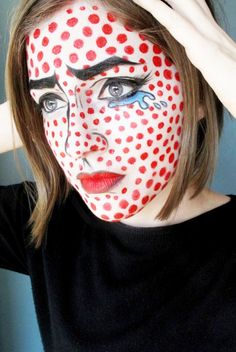 Roy Lichtenstein face paint // Halloween makeup ideas