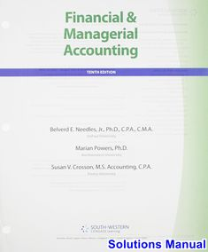 Solution manual for cornerstones of financial accounting 1st financial and managerial accounting 10th edition needles solutions manual test bank solutions manual fandeluxe Gallery
