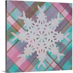 "Canvas On Demand Christmas Art 'Plaid Snowflake Wonderland I' by Inner Circle Graphic Art on Wrapped Canvas Size: 30"" H x 30"" W x 1.25"" D"