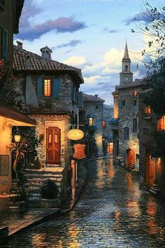 Eze, France...no it's just a another dreamy painting, the real thing does not look anything like this...