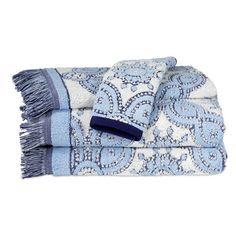 John Robshaw 'Petra' Cotton Washcloth ($15) ❤ liked on Polyvore featuring home, bed & bath, bath, bath towels, light indigo, plush bath towels, john robshaw, cotton wash cloth, cotton washcloths and cotton bath towels