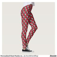 Personalized Giant Pandas on Red Background Leggings - These PERSONALIZED, unique, FUN leggings are decorated cute giant pandas on a red background. Easy to personalize white script NAME which appears near BOTTOM OF RIGHT LEG. All Rights Reserved © 2016 Alan & Marcia Socolik.