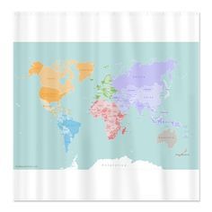 Pottery barn kids animals of the world shower curtain blue map new world map modern design shower curtain gumiabroncs Images