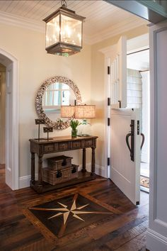 Compass design in entryway.