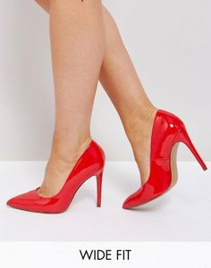 89d08b00e2fc ASOS PARIS Wide Fit Pointed Heels Red Prom Shoes