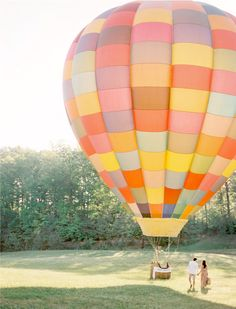 Imagine departing your ceremony to have pics in this pretty pastel hot air balloon!! (For more inspiration, Follow The LANE on instagram: the_lane , Mailing List: www.thelane.com/newsletter , Facebook: www.facebook.com/thelane )