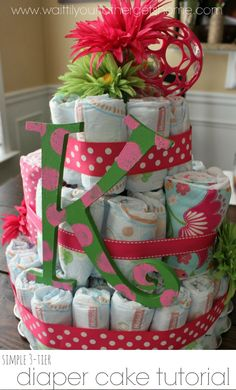 Simple 3-Tier Diaper Cake Tutorial from Wait Til Your Father Gets Home! #diapercake #babyshower #babygift