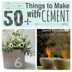 DIY~FREE Tutorials~50+ Things to Make from Cement Mix and Concrete Blocks.