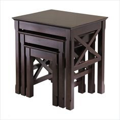 Nice nesting table set. $129.97 on sale from $219.00.  Dark Brown finish, though. Winsome Xola Nesting Table Set in Cappuccino Finish - 40333