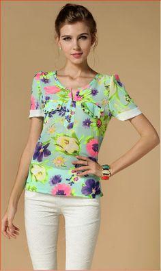 New summer chiffon women t-shirt tops flower print short sleeves blusas femininas women's clothing S M L XL XXL T Shirts For Women, Clothes For Women, Printed Shorts, Flower Prints, Floral Tops, Short Sleeves, Chiffon, Women's Clothing, Stuff To Buy