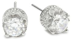 """Platinum Plated Sterling Silver """"100 Facets Collection"""" Round Cubic Zirconia Stud Earrings"""