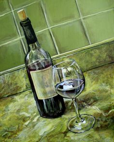 how to paint wine bottle and glass on canvas | Wine Glass And Bottle Painting
