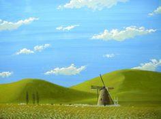 イラスト画「風車のある牧場」[昇] | ART-Meter
