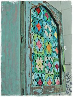 Impressive DIY Reclaimed Wood Crochet Cabinet