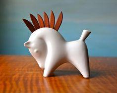 Animals - 3D Forms - Vintage Modernist Horse with Teak Toothpicks. White Ceramic