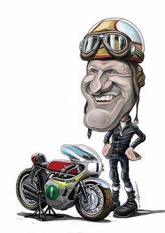 "Képtalálat a következőre: ""mike hailwood"" Caricature Drawing, Celebrity Caricatures, Motorcycle Art, Racing Motorcycles, Honda Cb, Vintage Racing, Go Kart, Motogp, Cool Cars"