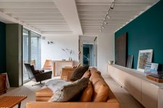 My Modern House: Nagan Johnson's converted Victorian warehouse Teal Couch, Colour Schemes, Warehouse, Victorian, Interior Design, Modern, Furniture, Home Decor, Houses