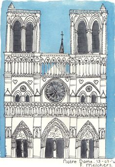 Ink drawing of the Notre Dame - Paris,surrounded by blue watercolor paint. Printed on matte photopaper (225 g), the size of A6 (105 x 148 mm).